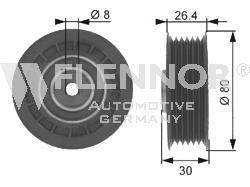 FU24991 Ролик промежуточный поликлинового ремня Opel Astra 1.4i-1.6i 16V 91 Omega 2.6i-3.0i 87