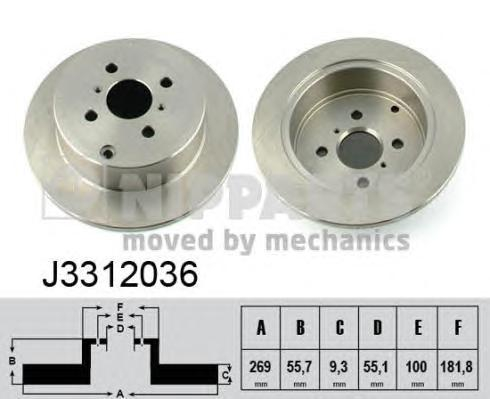 J3312036 Диск тормозной TOYOTA COROLLA 1.4-2.0 02-/YARIS 1.0-1.5 99- задний
