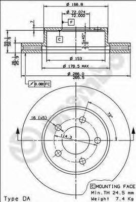 09765210 Диск тормозной FORD EXPLORER (USA) 4.0-4.9 93-01 передний D=286мм.