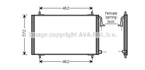 PE5191 Радиатор кондиционера PEUGEOT: 206 CC (2D) 2.0 S16 00 - , 206 Наклонная задняя часть (2A/C) 1.1 i/1.4 HDi eco 70/1.4 i/2.
