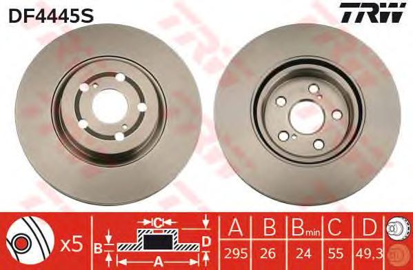 DF4445S Диск тормозной TOYOTA AVENSIS 2.0-2.4 03- передний вент.