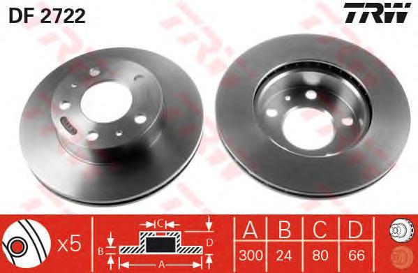 DF2722 Диск тормозной CITROEN JUMPER/FIAT DUCATO/PEUGEOT BOXER 94-передний вент.D=300мм