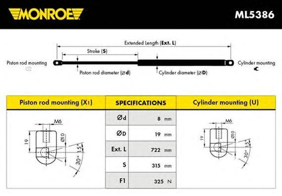 ML5386 Амортизатор капота AUDI: A4 (8E2, B6) 1.6/1.8 T/1.8 T quattro/1.9 TDI/1.9 TDI quattro/2.0/2.0 FSI/2.4/2.5 TDI/2.5 TDI qua