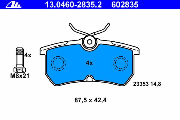 13046028352 Колодки тормозные дисковые задн, FORD: FIESTA V ST150 01-, FOCUS 1.4 16V/1.6 16V/1.8 16V/1.8 DI/ TDDi/1.8 TDCi/1.8 T