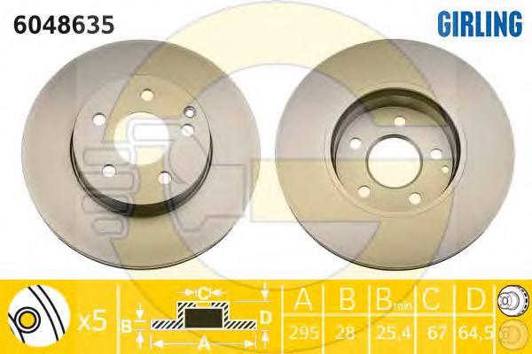 6048635 Диск тормозной MERCEDES W204/W212 09- передний D=295мм.