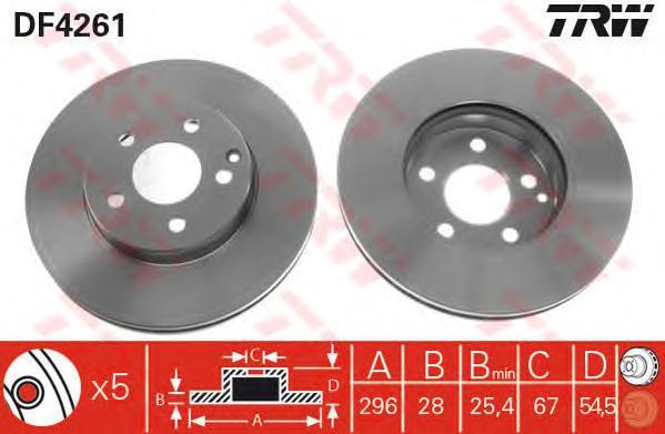 DF4261 Диск тормозной MERCEDES W211 200-320 передний D=295мм.
