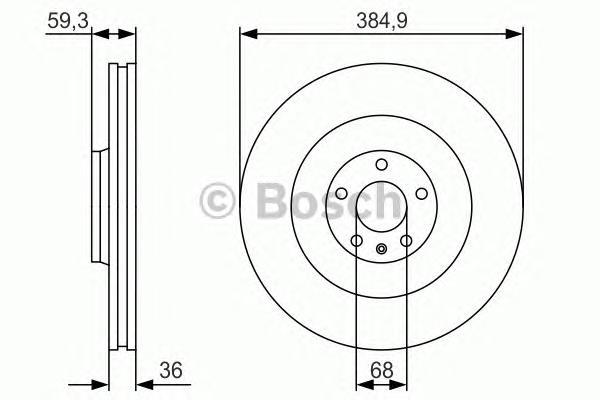 0986479R30 Диск тормозной AUDI A8 -10 передний вент.D=384,9мм