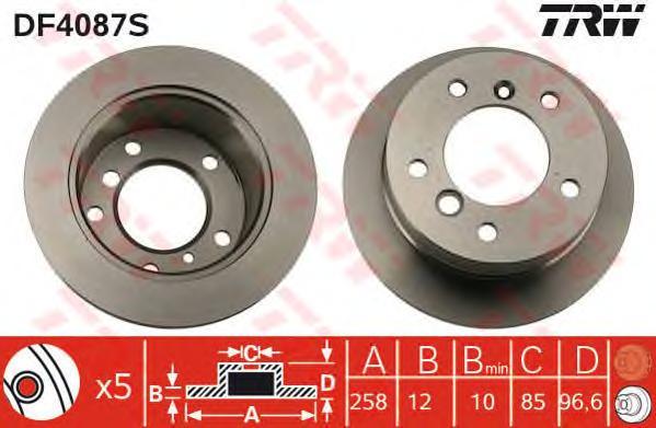 DF4087S Диск тормозной MERCEDES SPRINTER (2t) 95-06/VW LT 28-35/46 96-06 задний D=258мм.