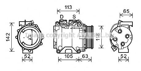 HDAK238 Компрессор кондиционера HONDA: ACCORD VII (CL) 2.0 (CL7)/2.4 (CL9) 03-, ACCORD VII TOURER (CM) 2.0 (CM1)/2.4 (CM2) 03-