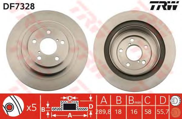 DF7328 Диск тормозной SUBARU IMPREZA 00-/LEGACY 03-/OUTBACK 03-09 задний вент.D=290мм.