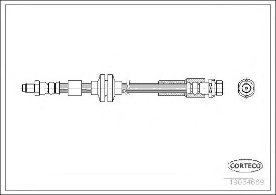 19034669 Шланг тормозной FORD: C-MAX 1.6 TDCi/1.8/1.8 TDCi/2.0 TDCi 07-, FOCUS C-MAX 1.6/1.6 TDCi/1.6 Ti/1.8/1.8 Flexifuel/1.8 T
