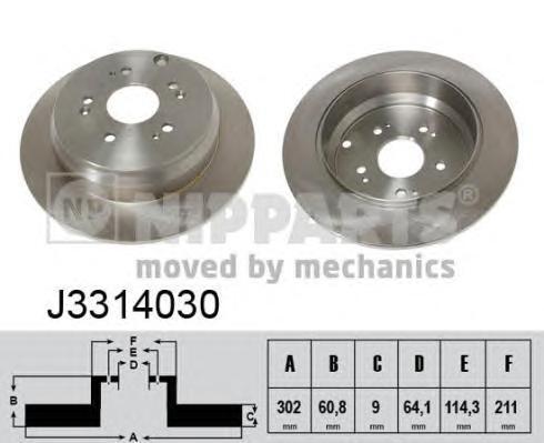 J3314030 Диск тормозной HONDA CR-V 02- задний D=302мм.