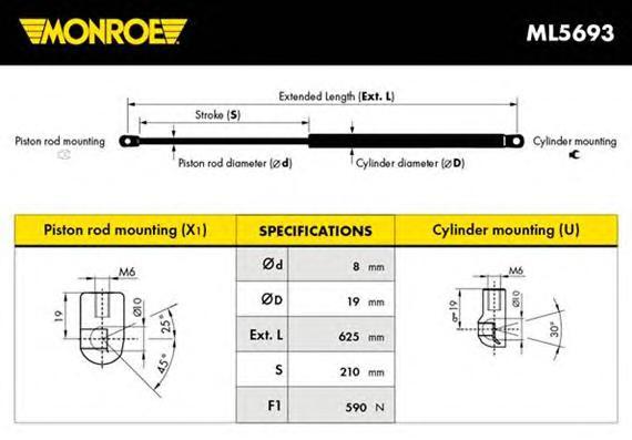 ML5693 Амортизатор крышки багажника BMW: X3 (E83) 2.0 d/2.0 i/2.5 i/2.5 si/3.0 d/3.0 i/3.0 sd/3.0 si 04 -
