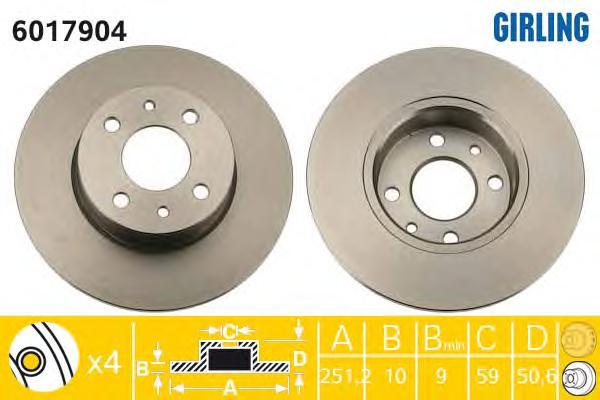 6017904 Диск тормозной ALFA ROMEO 164/FIAT BRAVO/CROMA/MULTIPLA/STILO задний