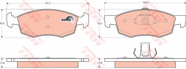 GDB1588 Колодки тормозные дисковые передн FIAT: DOBLO 01-, DOBLO Cargo 01-