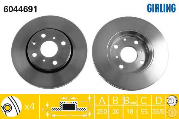 6044691 Диск тормозной CITROEN C1/PEUGEOT 107/TOYOTA AYGO 05- передний вент.