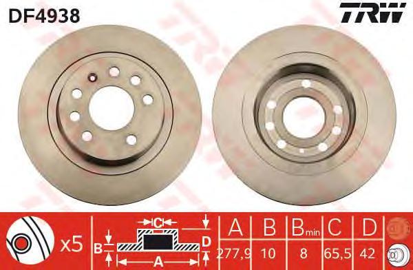 DF4938 Диск тормозной задн OPEL: ASTRA H 04 - , ASTRA H GTC 05 - , ZAFIRA 05 - , ZAFIRA Van 05 -  VAUXHALL: ASTRA Mk V Sport Hat