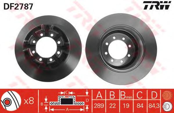 DF2787 Диск тормозной IVECO DAILY 2.5-2.8 96- задний
