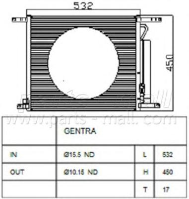 PXNCC028 Радиатор кондиционера с осушит. DAE GENTRA(T250)
