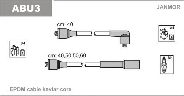 ABU3 Комплект проводов зажигания AUDI: 80 78-86, 80 86-91, 80 91-94, 80 AVANT 92-96, CABRIOLET 93-98, COUPE 86-88, COUPE 89-96
