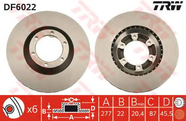 DF6022 Диск тормозной HYUNDAI GALLOPER 98- передний вент.D=277мм.