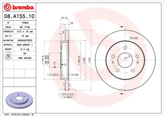08A15510 Диск тормозной DAIHATSU TERIOS 97- передний