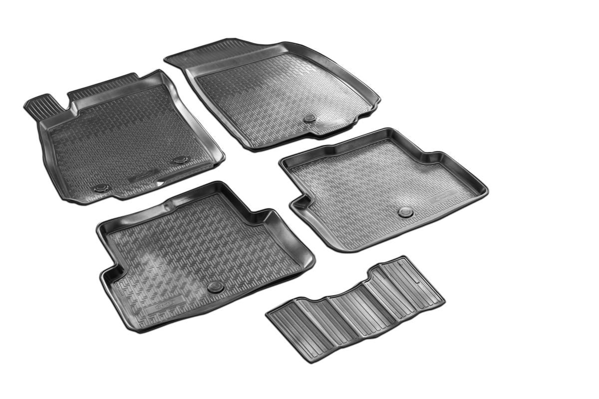 0011001001 Комплект автомобильных ковриков Chevrolet Aveo 2012- , полиуретан, низкий борт, 5 предметов, крепеж для передних ковр