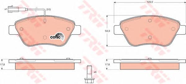 GDB1482 Колодки тормозные CITROEN NEMO 08-/FIAT DOBLO 01-/PEUGEOT BIPPER 08- передние