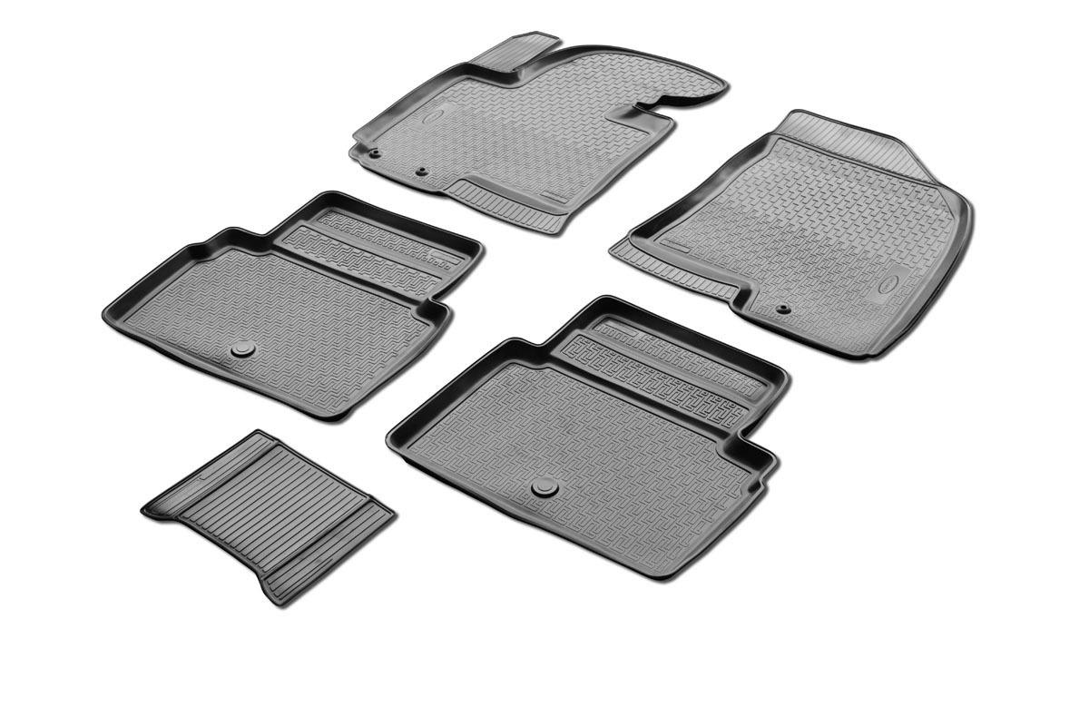 0012304001 Комплект автомобильных ковриков Hyundai ix35 2010- , полиуретан, низкий борт, 5 предметов, крепеж для передних ковров