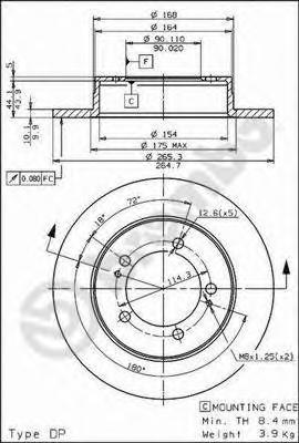 08563910 Диск тормозной MITSUBISHI ECLIPSE 2.0 91-99 задний D=269мм.