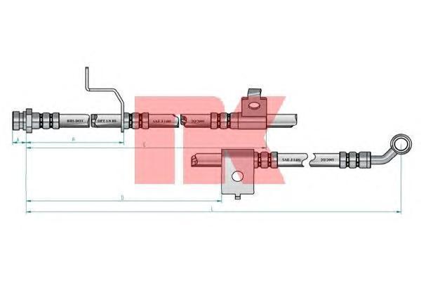 853427 Шланг тормозной HYUNDAI SONATA (EF) 01-04 передний левый L=715мм.