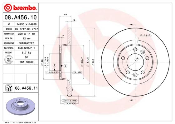 08A45610 Диск тормозной CITROEN JUMPY/FIAT SCUDO/PEUGEOT EXPERT 07- задний D=290мм.