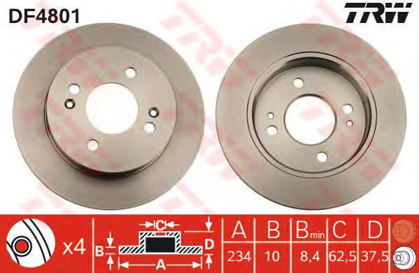 DF4801 Диск тормозной задн HYUNDAI: i10 07-, KIA: PICANTO (BA) 04-