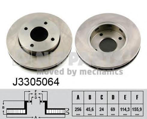 J3305064 Диск тормозной MITSUBISHI COLT VI 04/SMART FORFOUR 04 передний
