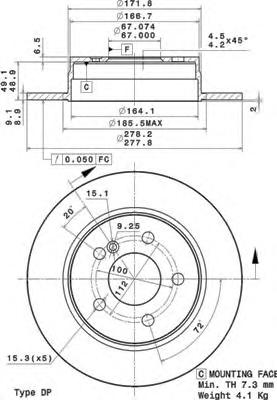 08A73711 Диск тормозной MERCEDES W204 180-200 07- задний D=278мм.