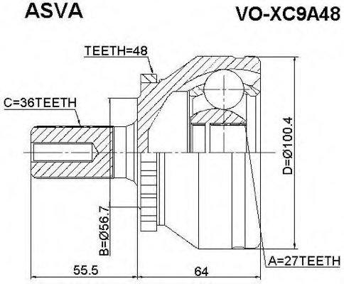 PCV3031 ШРУС наружн [A:36, B:27, D:56.5mm, ABS:48] Volvo: XC90 03