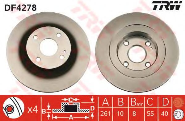 DF4278 Диск тормозной задн MAZDA: 323 F VI 98-04, 323 S VI 98-04