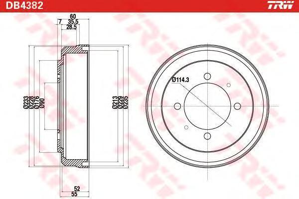 DB4382 Тормозной барабан  LANCER V