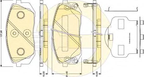 6134619 Колодки тормозные HYUNDAI ix35 10-/KIA SPORTAGE 10-/CARENS 02- передние