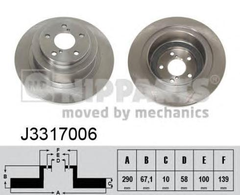 J3317006 Диск тормозной SUBARU FORESTER 97-/LEGACY 98-03/OUTBACK 00-09 задний D=290мм.