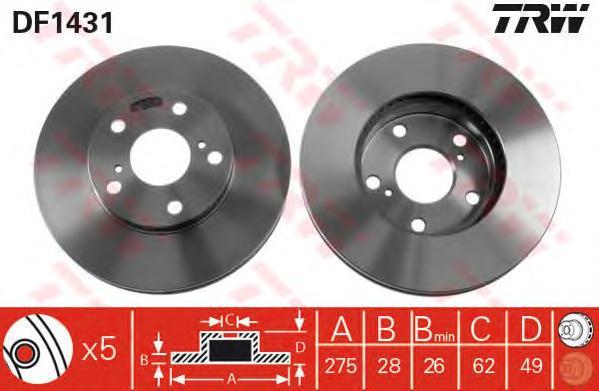 DF1431 Диск тормозной TOYOTA AVENSIS 01-/CAMRY 91-01/PREVIA 00- передний вент.D=275мм.