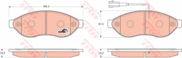 "GDB1681 Колодки тормозные CITROEN JUMPER/FIAT DUCATO/PEUGEOT BOXER R15"" 06- передние"