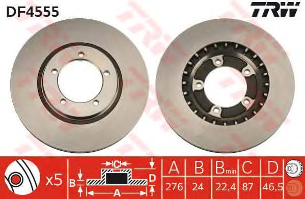 DF4555 Диск тормозной MITSUBISHI L400 95-05 передний вент.D=276мм.