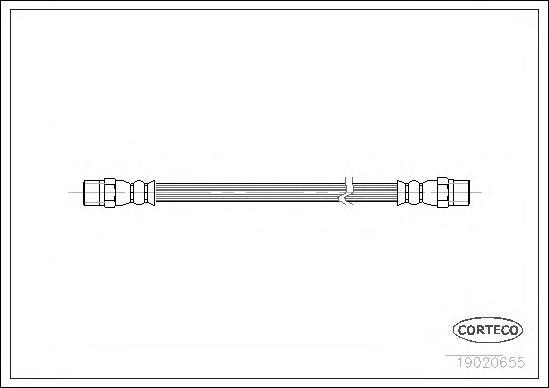 19020655 Шланг тормозной AUDI: 80 1.6/1.6 D/1.8/1.8 CC quattro/1.8 GTE/1.8 GTE quattro/2.0/2.0 quattro/2.2 quattro 78-86, 80 1.4