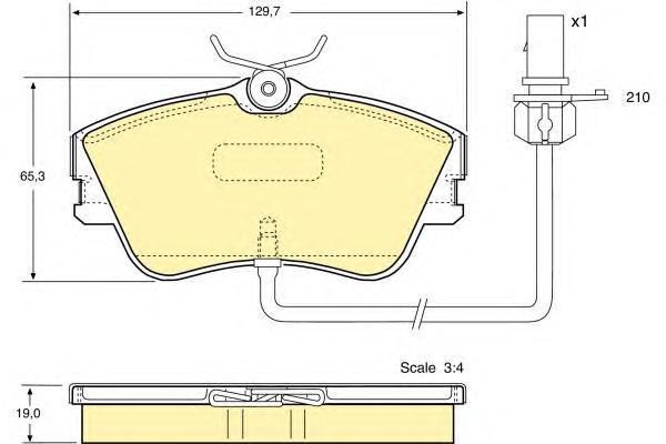 6113671 Колодки тормозные VOLKSWAGEN T4 R15 5/99с датчиком передние