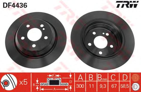 DF4436 Диск тормозной MERCEDES W220 2.8-3.5 98-05 задний D=300мм.