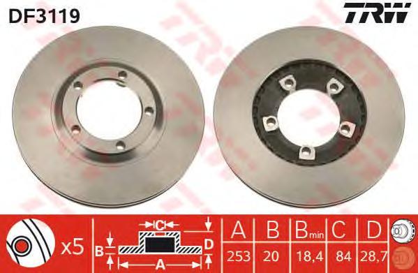 DF3119 Диск тормозной HYUNDAI H1/H100/PORTER передний вент.D=253мм.
