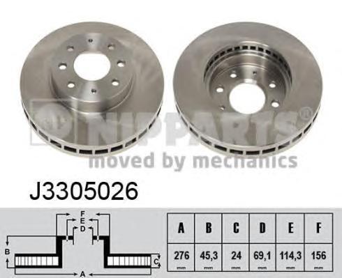 J3305026 Диск тормозной MITSUBISHI GALANT VI R15 9700 передний вент.