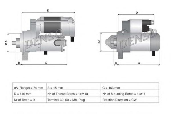 DSN921 Стартер TOYOTA COROLLA 1.6 VVTI 02-/AVENSIS 1.6/1.8 -03