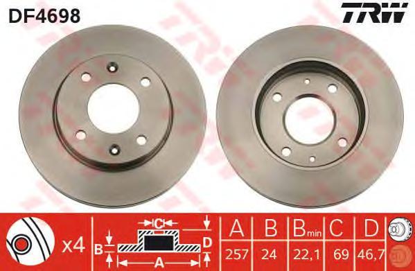DF4698 Диск тормозной HYUNDAI ELANTRA 00-/LANTRA/MATRIX 01-/KIA CERATO 1.6 06- передний